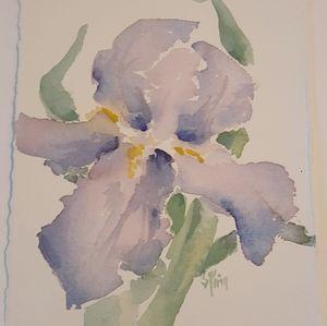 Purple iris watercolor small original